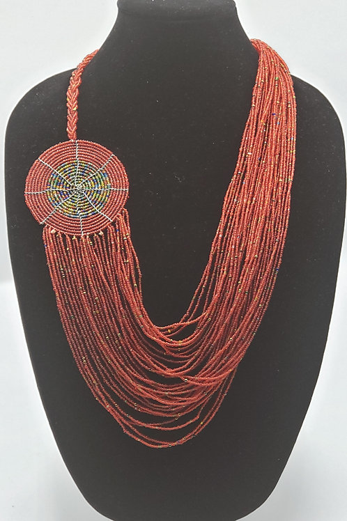Red & Multi Waterfall Necklace