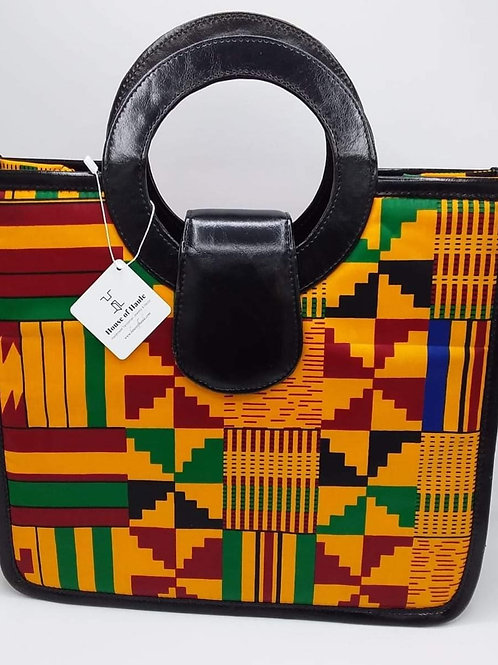 Kitenge Cloth & Leather Handbag