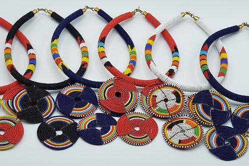 Three Circle Pendant Necklace Set