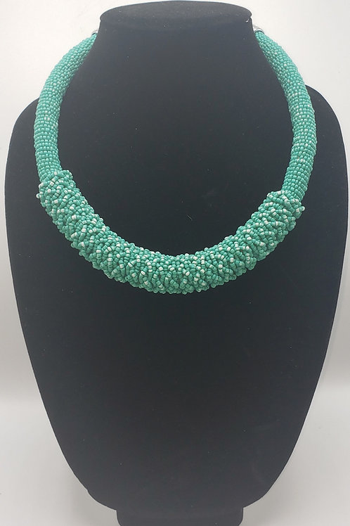 Frosty Green Beaded Necklace