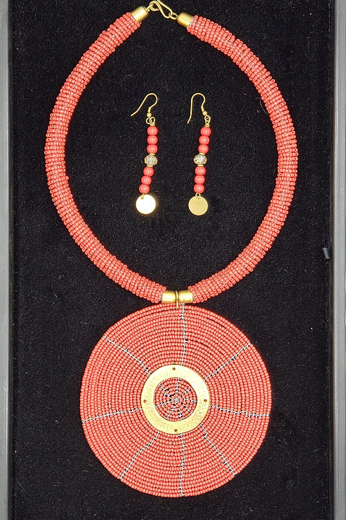 Beaded Necklace Set (Red/Brass)