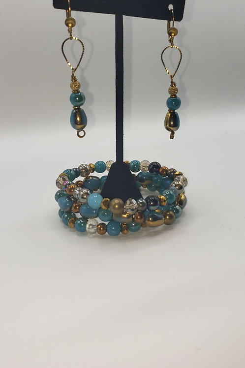 Bold Blue & Gold Bracelet/Earring Set