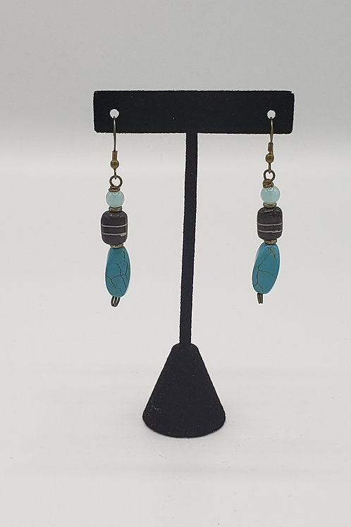 Turquoise Crackle Stone Earrings