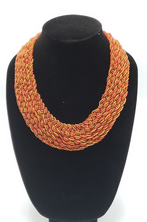 Red and Gold Woven Bead Necklace