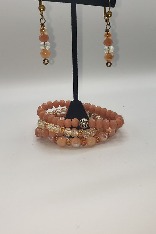 Peachy Keen Bracelet/Earring Set