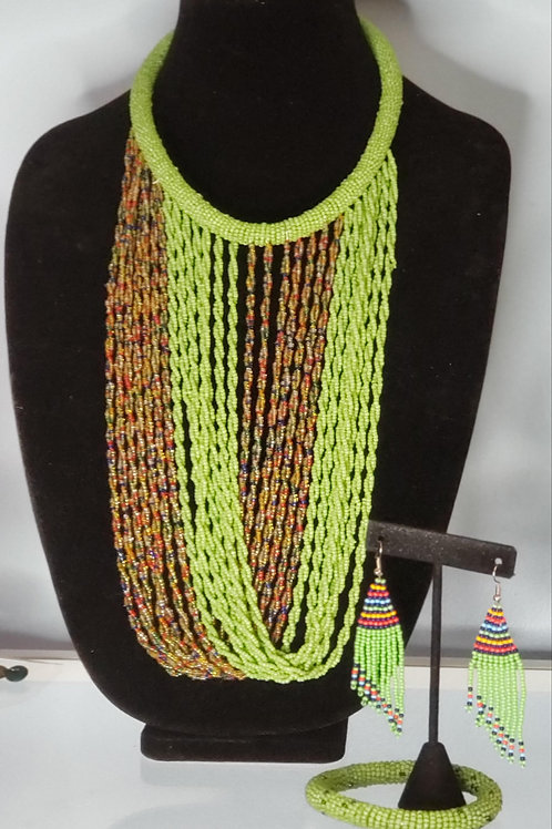 Green & Multi Twisted Waterfall Necklace