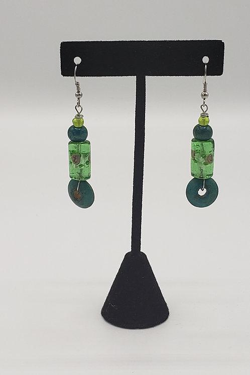 Rose Petal Earrings in Green