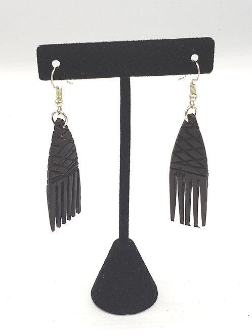 Ebony Wood Afro Pick Earrings