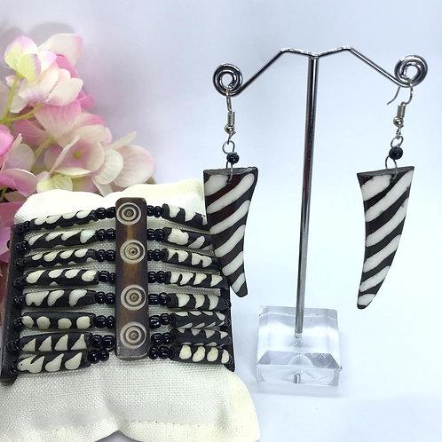 Bone Bracelet/Earring Set