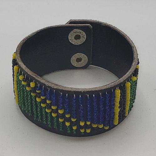 Leather Tanzanian Flag Bracelet (small)
