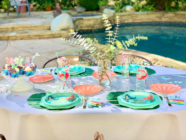 Mermaid Birthday Table with Kate's Safe & Sweet Cupcakes