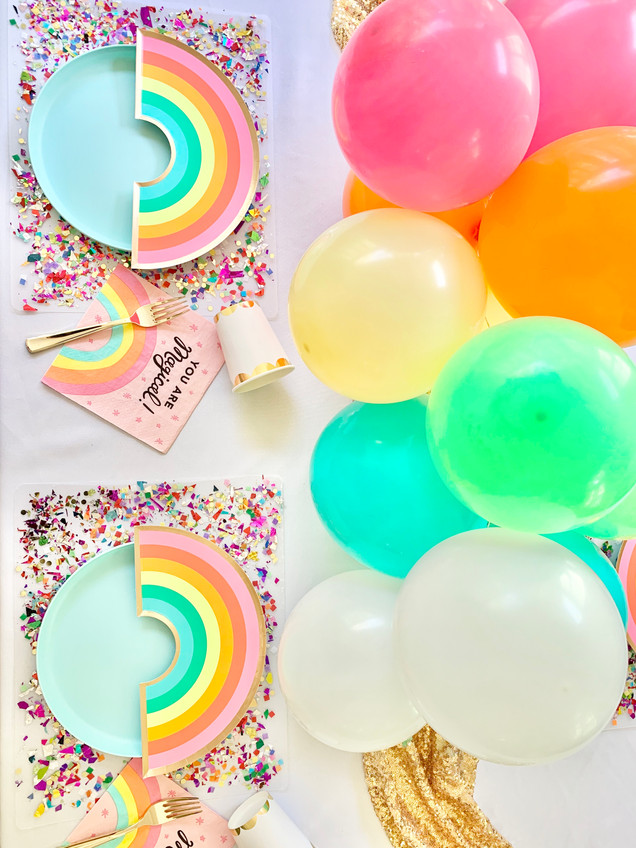 Rainbow Kids Table with DIY Confetti Placemats