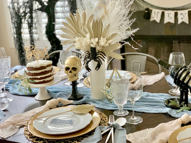 Moody Boho Halloween Tablescape