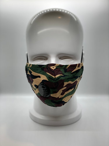 Camouflage 3-Layer Cotton Face Mask with 5-ply Carbon Protection Filter(PM2.5)