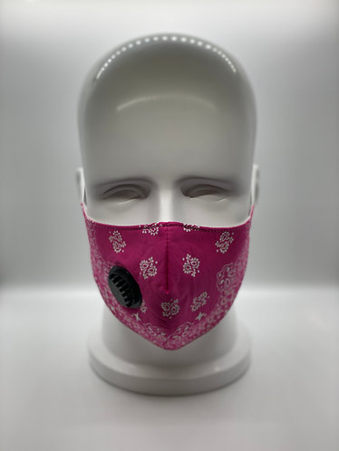 Pink Bandana 3-Layer Face Mask with 5-ply Carbon Protection Filter(PM2.5)