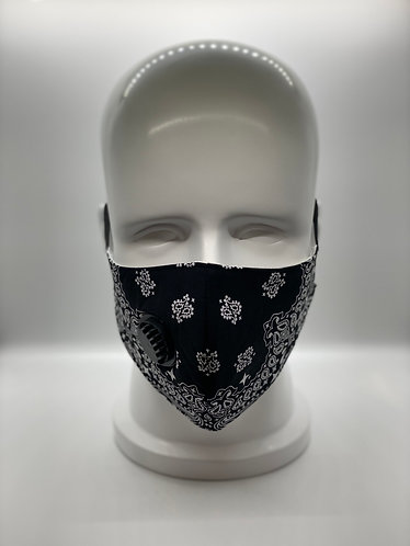 Black Bandana 3-Layer Face Mask with 5-ply Carbon Protection Filter(PM2.5