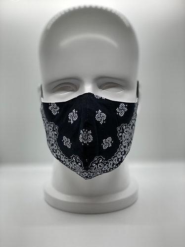 Cotton Bandana Black Face Mask for Men and Women