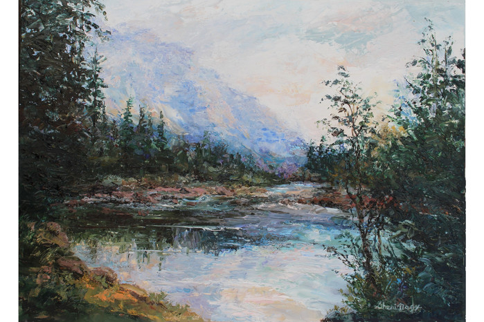Glacier McDonald Creek Oil 9x12 April 20