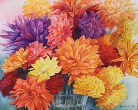 Last Blooms of Summer, 22.5 X 24 framed,