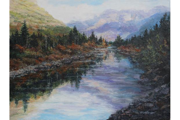 Glacier Autumn  Reflections 16x20 Oil Pa