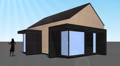 Projekt małego domku letniskowego.