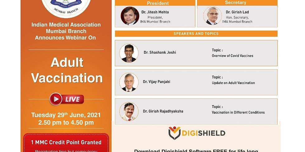 IMA MUMBAI BRANCH ANNOUNCES webinar on Adult Vaccination