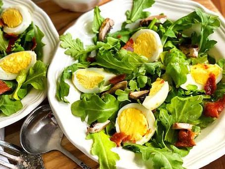 Arugula & Mushroom Salad, with Warm Bacon Vinaigrette.