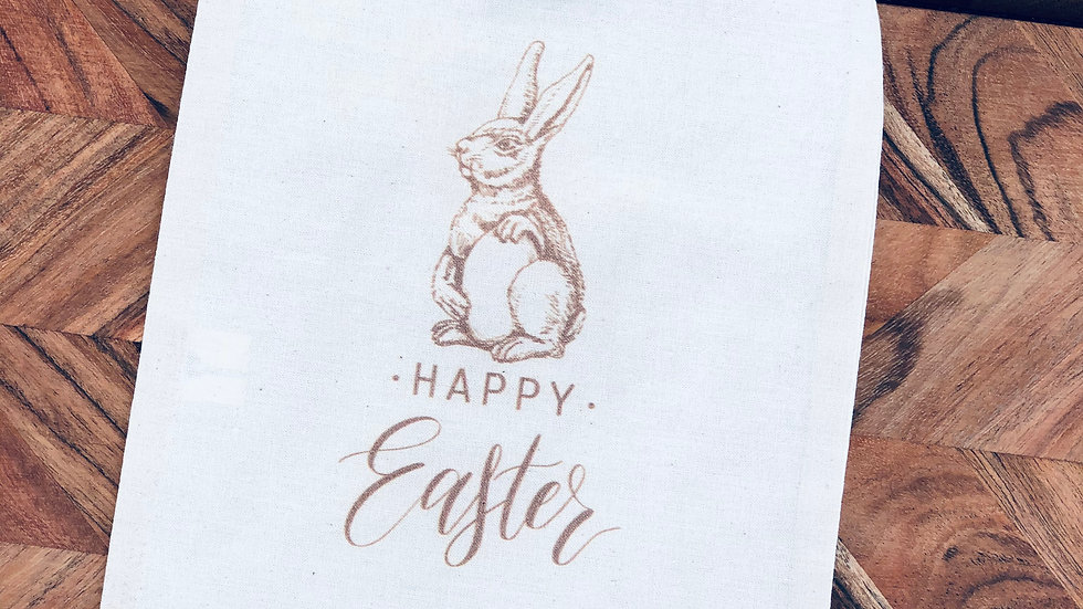 Happy Easter - Calico Drawstring Bag