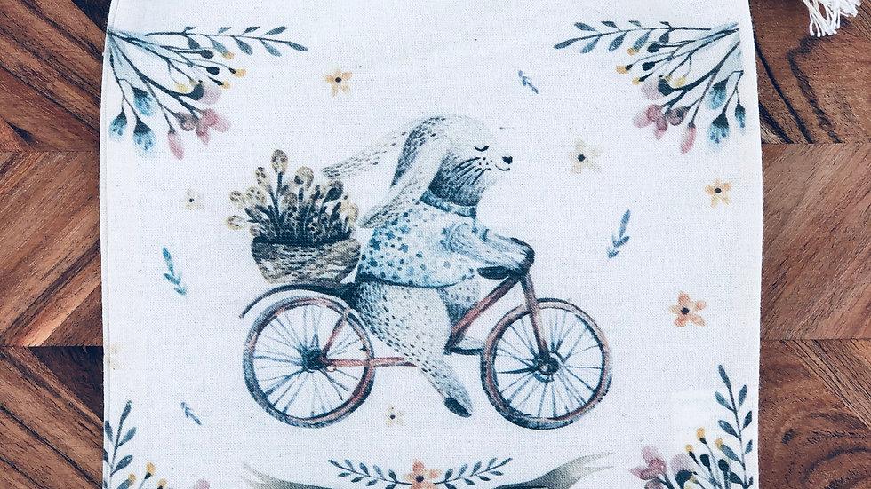 Happy Easter Bike - Calico Drawstring Bag