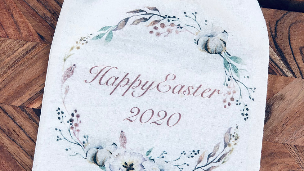 Happy Easter 2020 - Calico Drawstring Bag