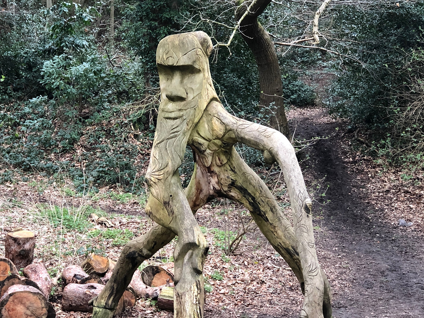 Green Man Wood Sculpture at Lily Hill Park, Bracknell