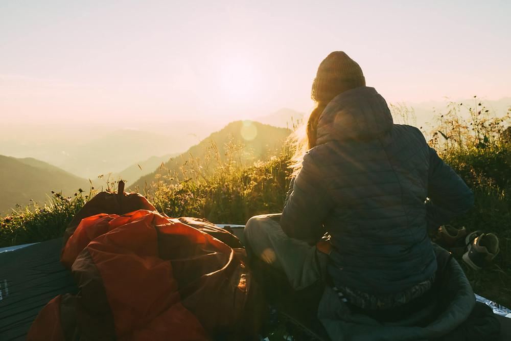 Sonnenaufgang in den Allgäuer Alpen nach einer Nacht auf'm Berg