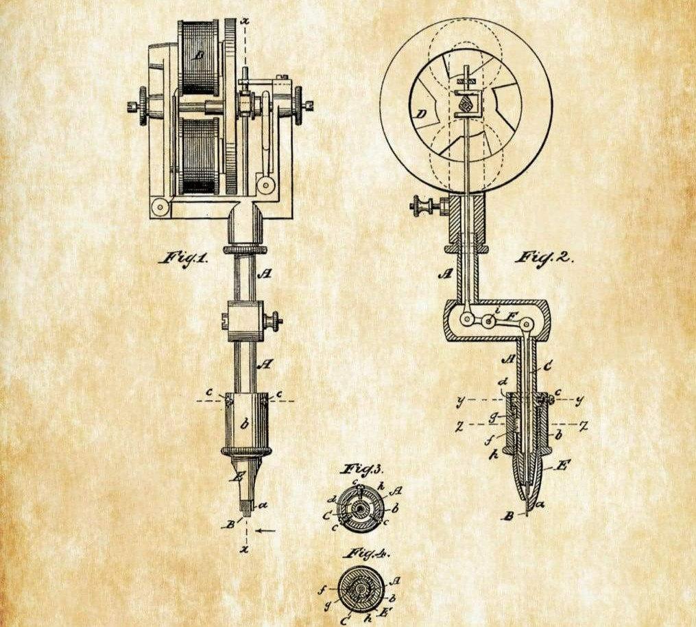 first-tattoo-machine-patent-1891-tattoo-gun-patent-tattooing-tattoo-parlor-art-tattoo-prin