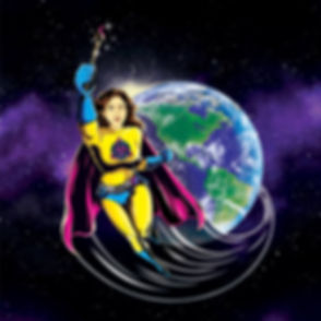 Bringing color to your world. Super mom flying around the world with a magic paint brush
