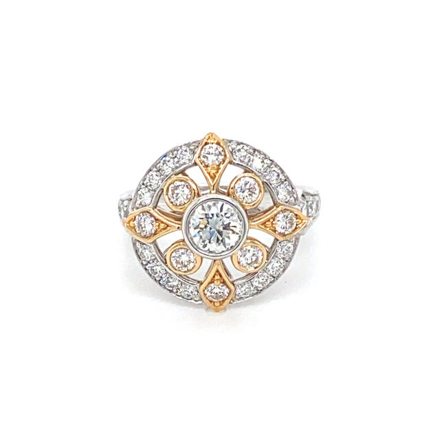 Two-tone White & Rose Gold Round Brilliant Cut Diamonds