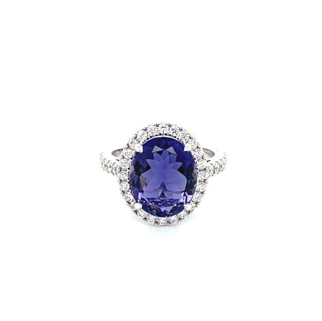 Iolite + Diamond Halo & Shoulder