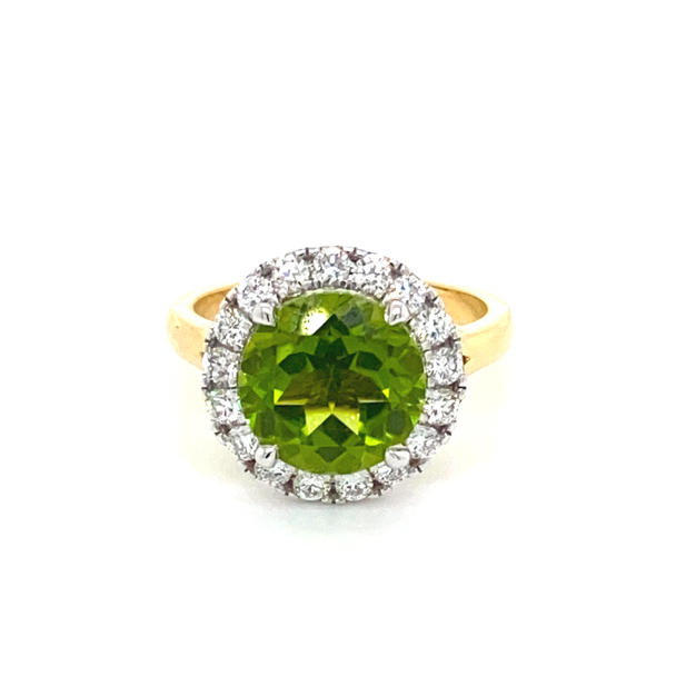 Peridot + Diamond Halo