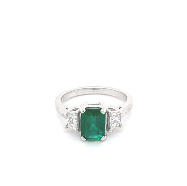 Emerald + Trapezoid Cut Diamond Trilogy