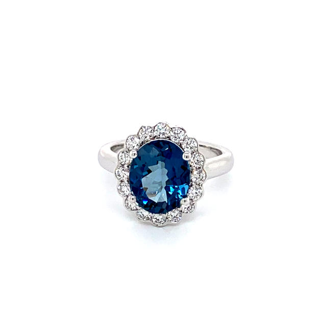 London Blue Topaz + Diamond Halo