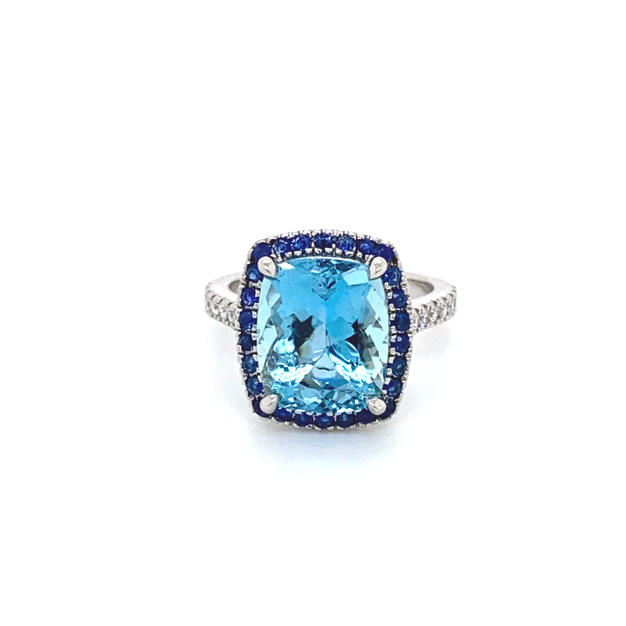 Aquamarine + Sapphire Halo  + Shoulder Diamonds