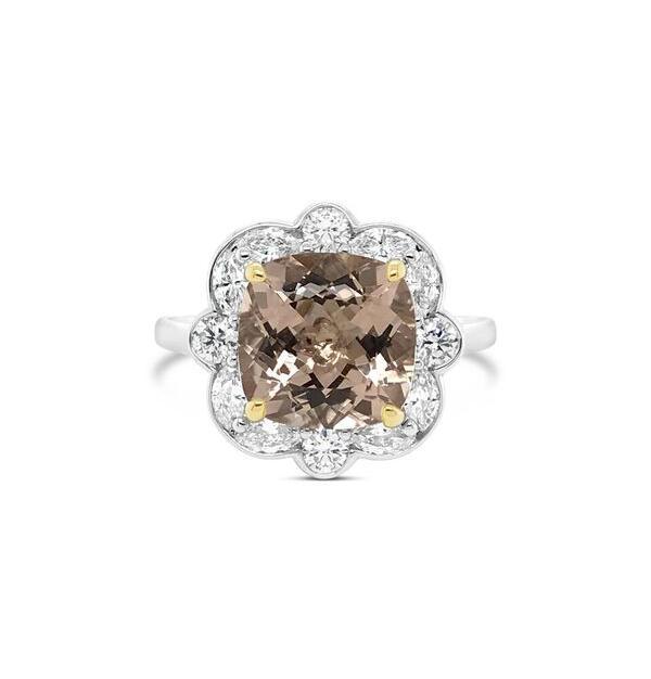 Morganite + Diamond Halo