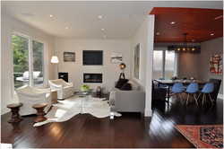 Living-Room-Modern-Toronto-accent-ceiling-area-rug-ceiling-treatment-cowhide-rug