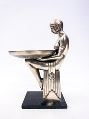 White Brass Art Nouveau Style Figural Stand
