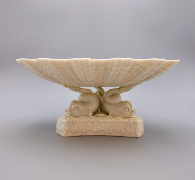 Scarce Belleek Tri Dolphin Footed Comport