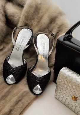 Bruno Magli Shoes and Grey Mink Shawl