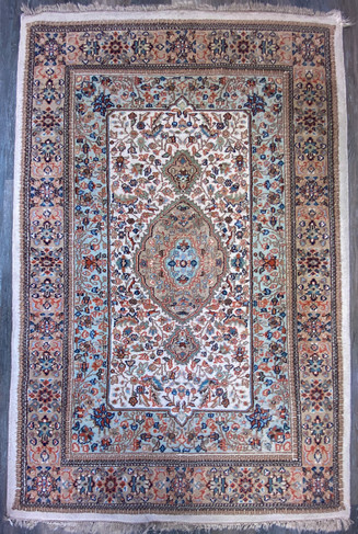 INDO TABBA CREAM HAND KNOTTED WOOL CARPET