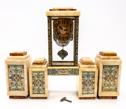 French Art Deco Marble Cased Mantel Clock