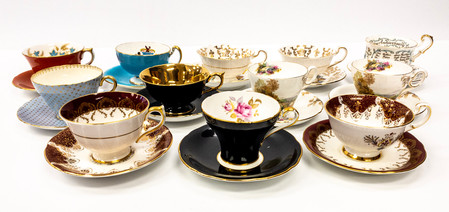 Assorted Decorative Cups and Saucers
