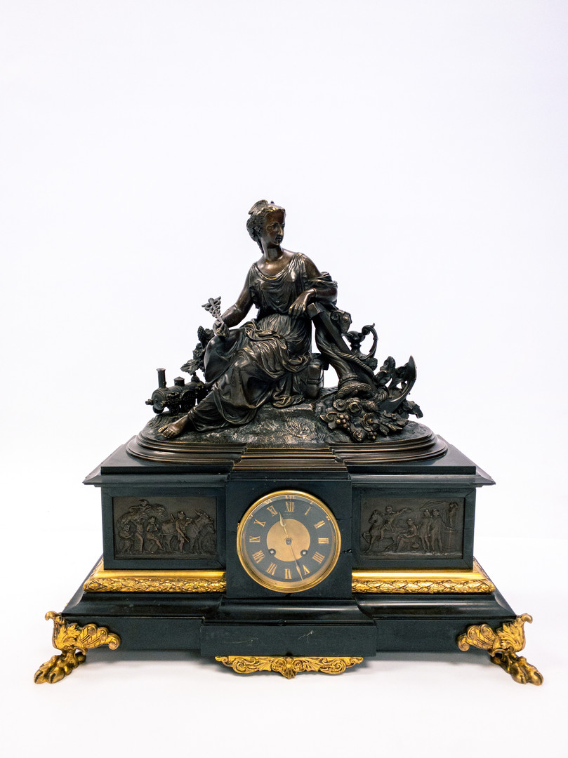 Bronze and Slate Mantel Clock