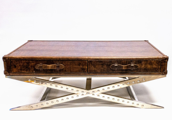 BROWN LEATHER COFFEE TABLE